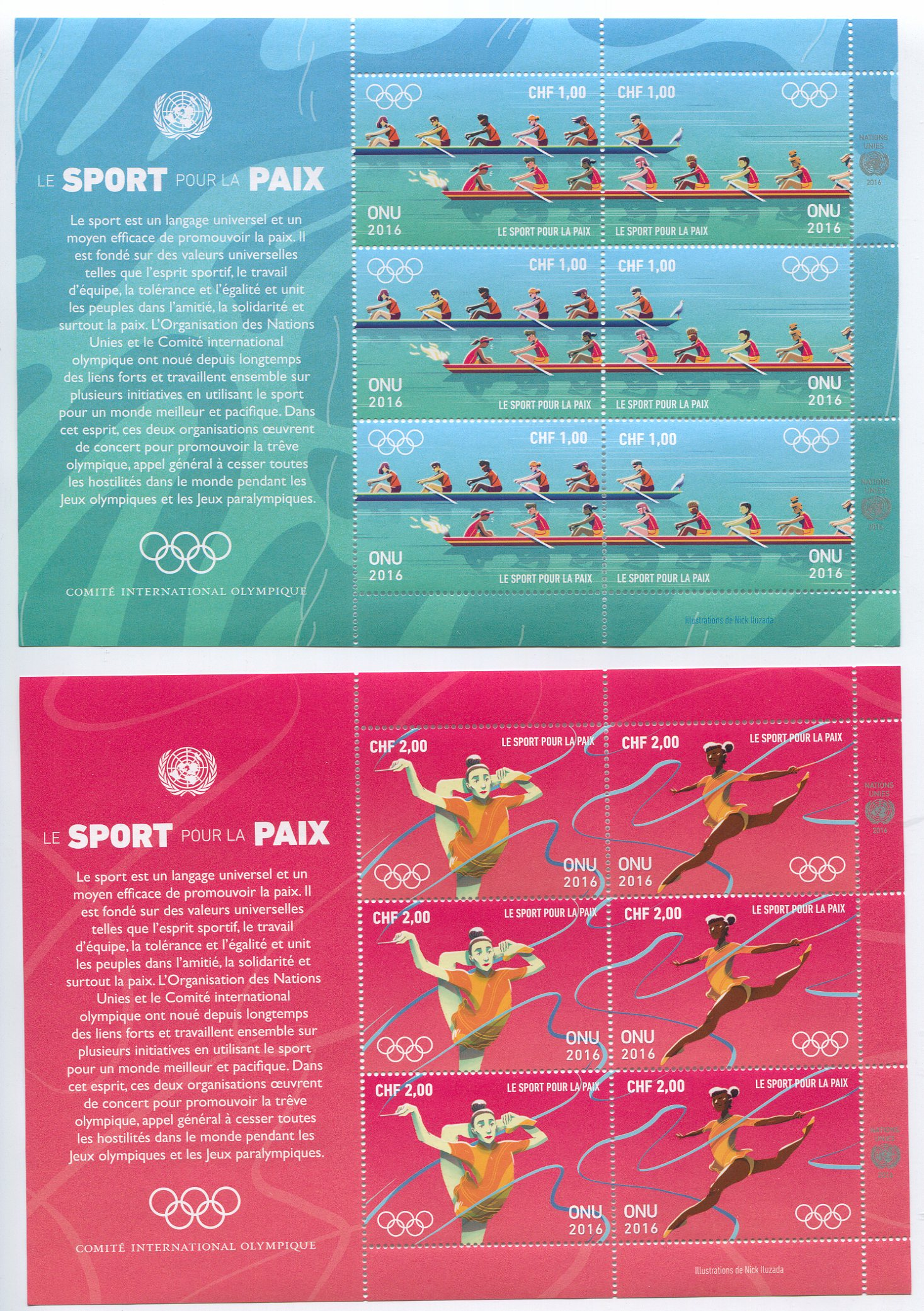 UNG 621-24 1.00,2.00 Fr Sport For Peace Sheets of 6 #ung621-4sh