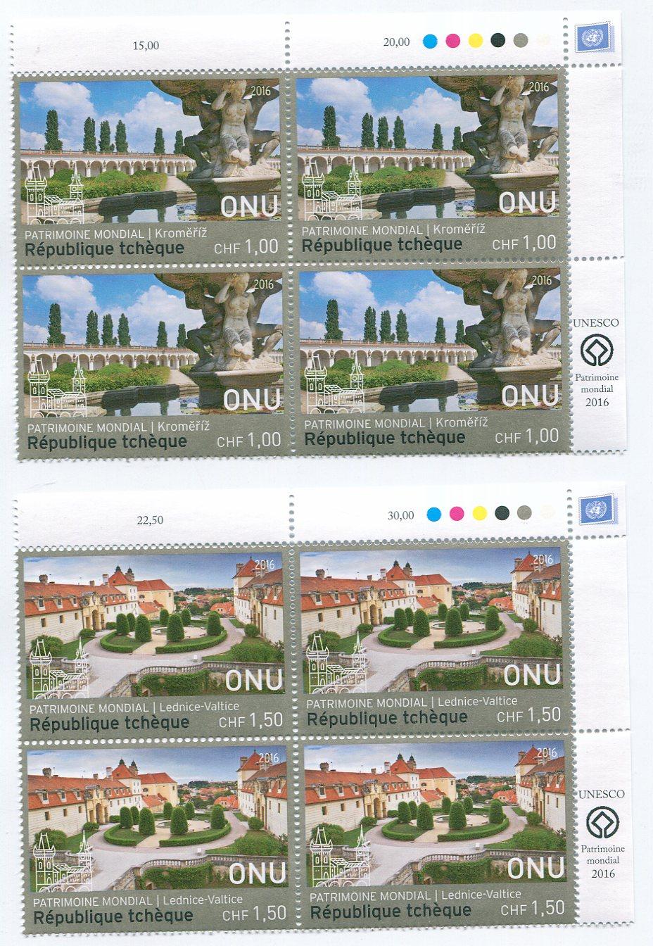 UNG 625-26 1.00,150 Fr UNESCO Czech Rep Insc. blocks #ung625-6ib