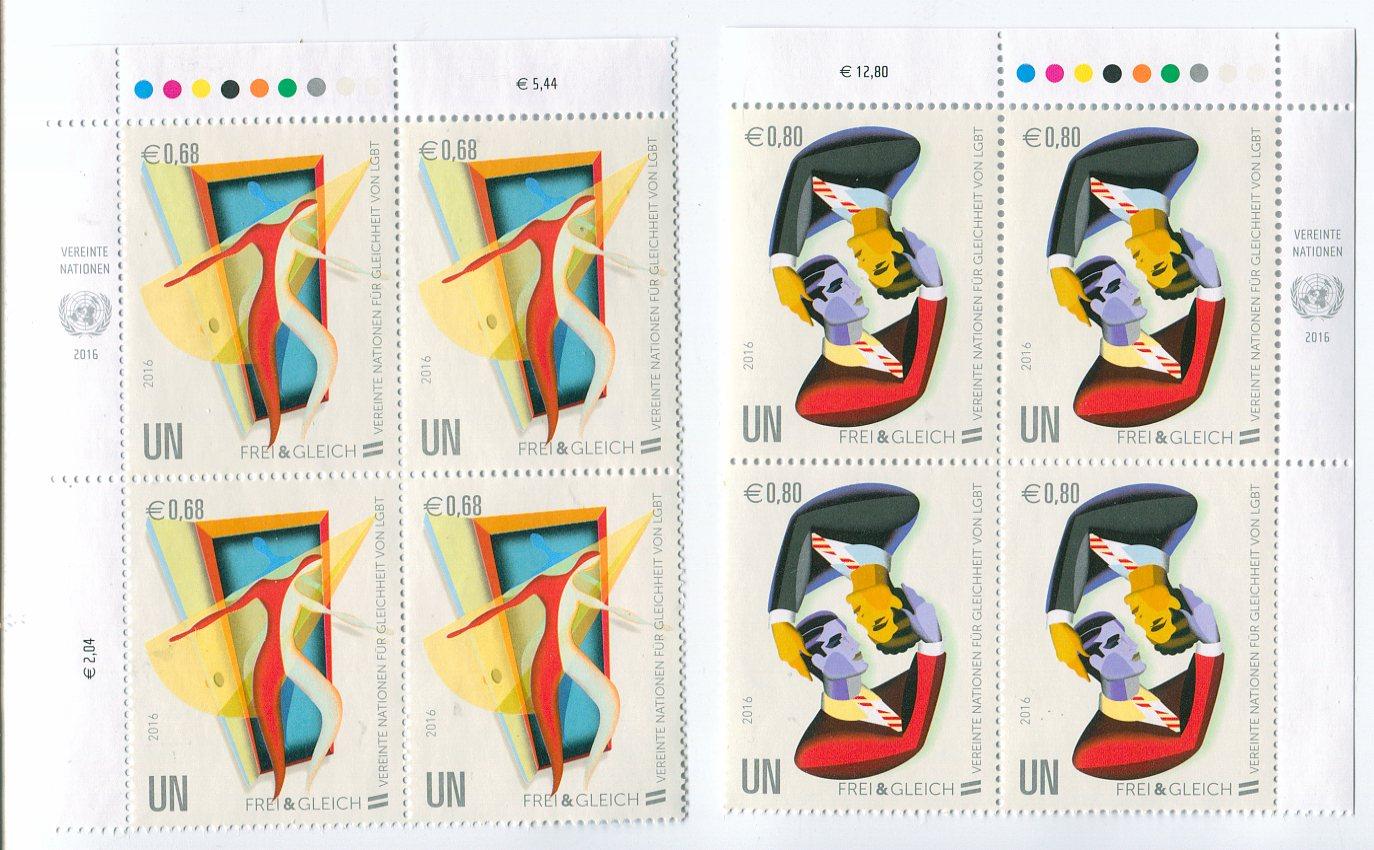 UNV 579-80 €68, .80 Free and Equal Inscription Blocks #unv579-80ib