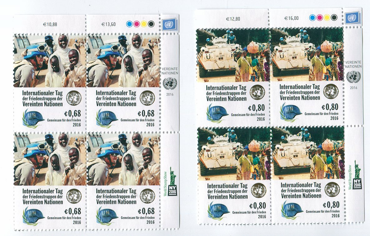 UNV 586-87 €68, .80 Int Peace Keepers Inscription Blocks #unv586-7ub