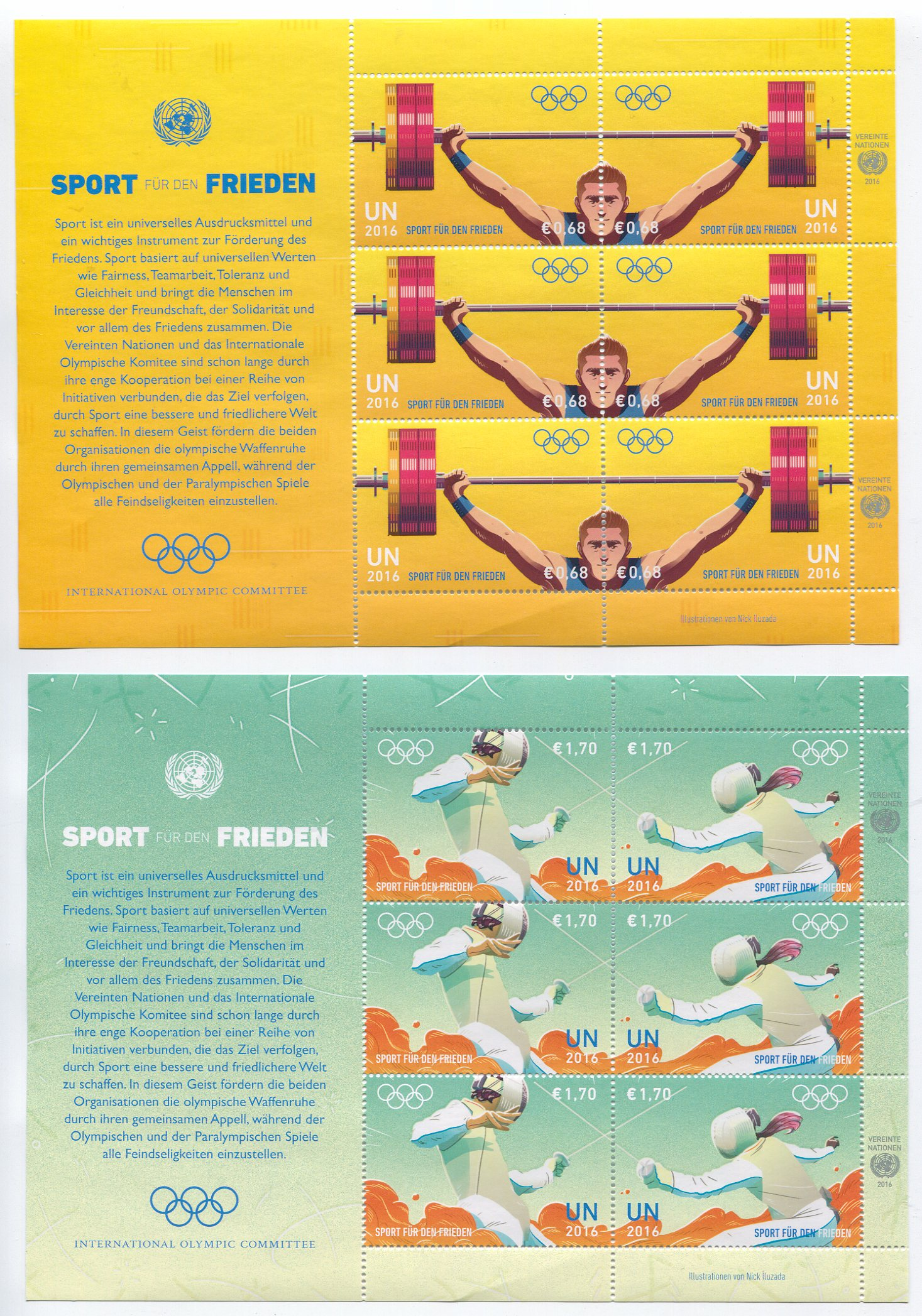 UNV 588-91 €68,1.70 Sport For Peace Sheets of 6 #unv688-91sh