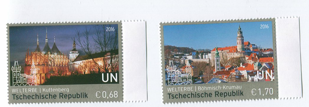 UNV 592-93 €68,1.70 UNESCO Czech Rep Singles #582-3nh