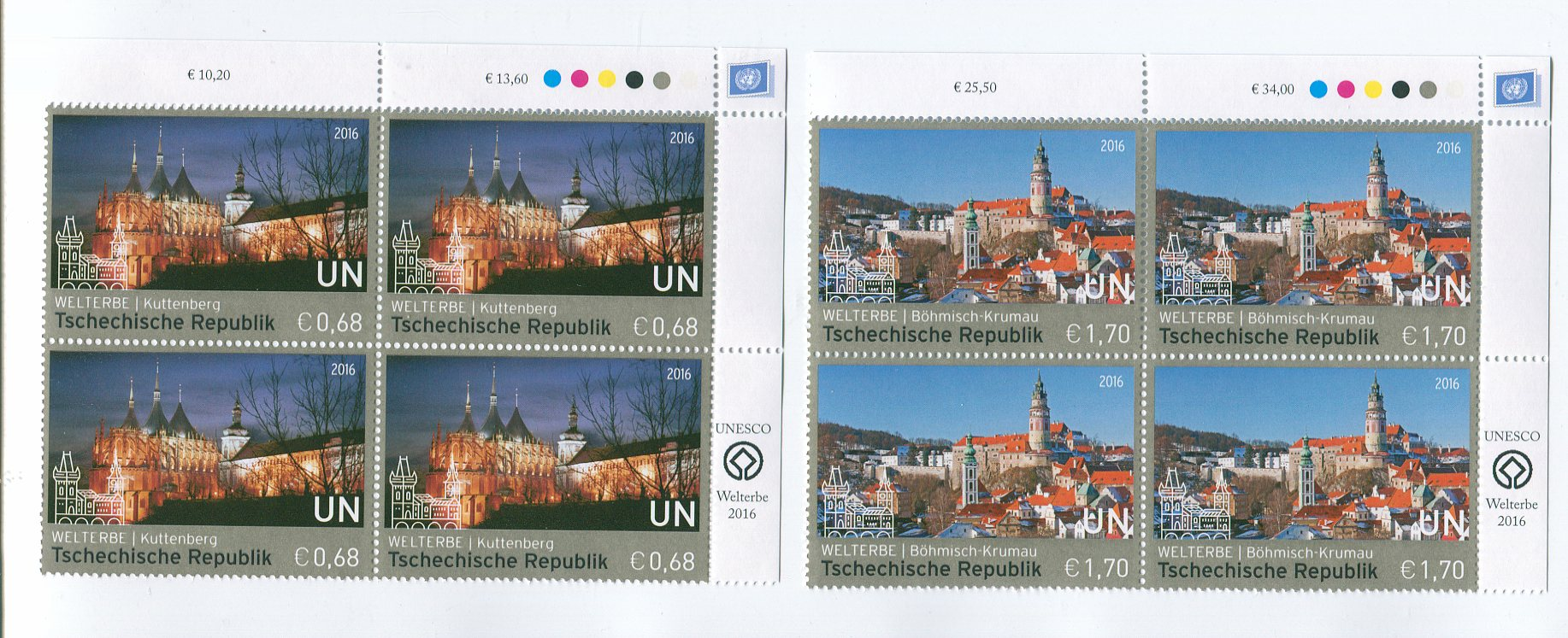 UNV 592-93 €68,1.70 UNESCO Czech Rep Inscr. Blocks #unv592-3ib