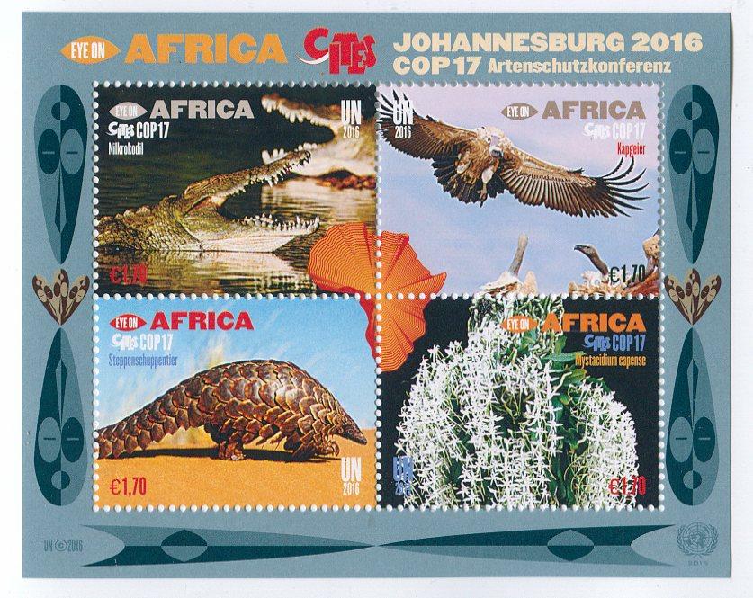 UNV 596 Ç1.70 Fr Eye on Africa Mint Sheet of 4 #unv596sh