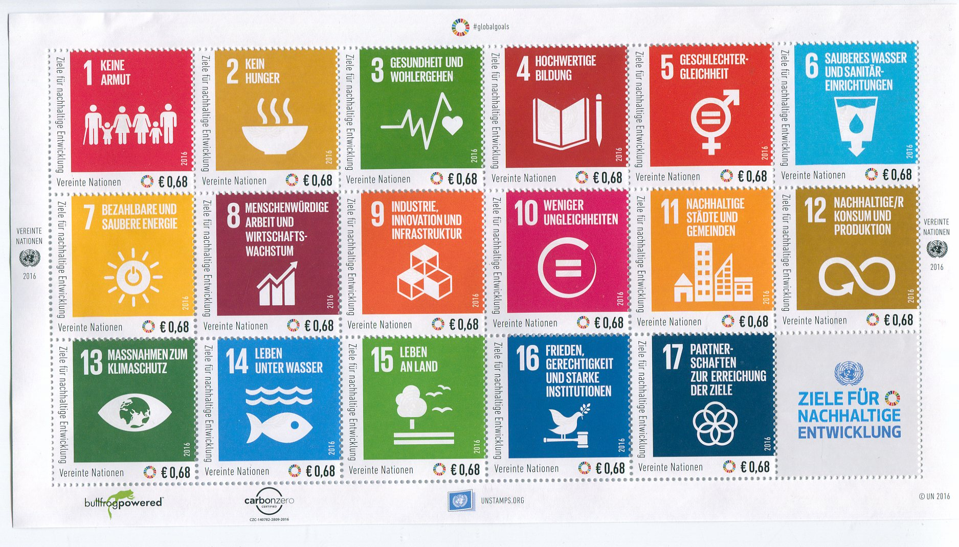 UNV 597 €68 Sustainable Goods Sheet of 17 #ung597sh