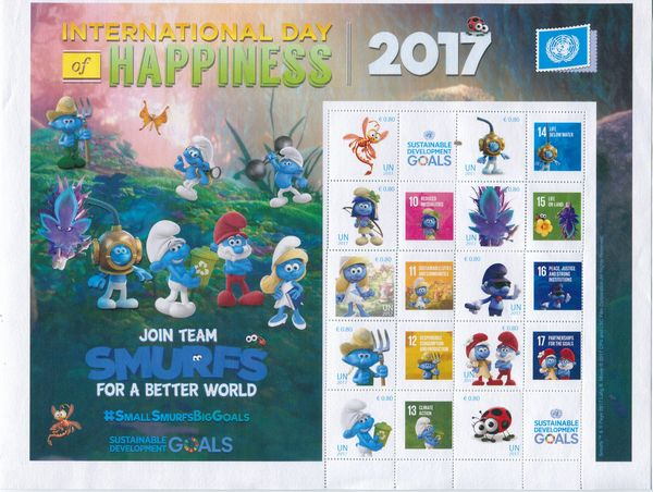 UNV 598 Day of Happiness Smurfs Personalized Sheet #unv598sh