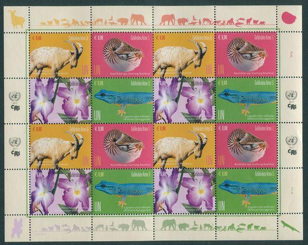 UNV 601-604 €80 Endangered Species Sheet of 16 #unv601-4sh