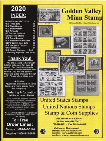 2019 Golden Valley Minnesota Stamps Catalog #2019CAT