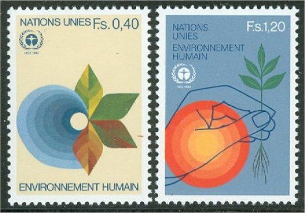 UNG 107-08 40c- 1.20 fr. Human Env. UN Geneva Mint NH #ung107nh