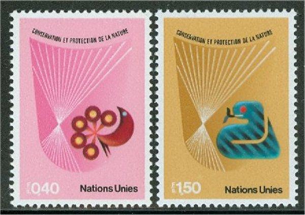 UNG 111-12 40c- 1.50 fr. Nature Cons. UNG Inscription Blocks #ung111mi