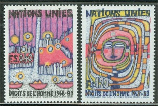 UNG 119-20 40c-1.20 fr Human Rights UN Geneva Mint NH #12463