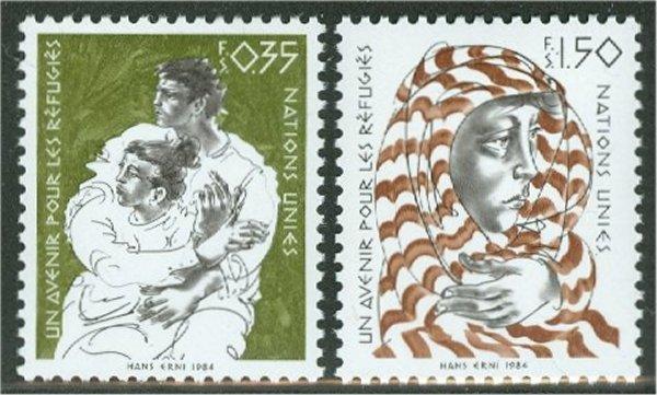 UNG 126-27  35c-1.50 fr. Refugees UN Geneva Mint NH #12469