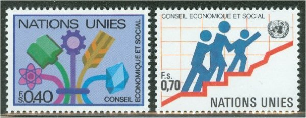 UNG  96-97 40c-70c Econ. Social Council. UNG Inscription Blocks #ung96mi