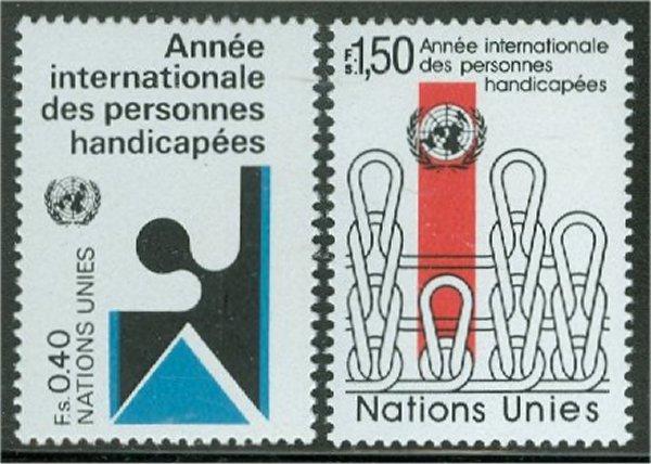 UNG  99-100 40c- 1.50 fr. Disabled UN Geneva Mint NH #ung99