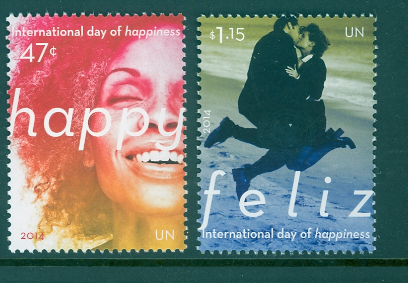 UNNY 1081-82 47c, $1.15 Day of Happiness Inscription Block of 4 #1081-2ib