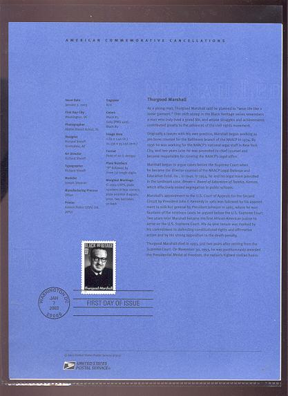 3746     37c Thurgood Marshall USPS Souvenir Page #1-Mar