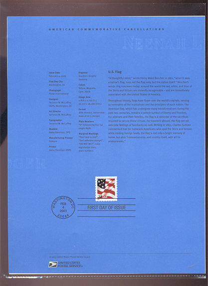 3637     37c U. S. Flag Booklet Single USPS Souvenir Page #5-Mar