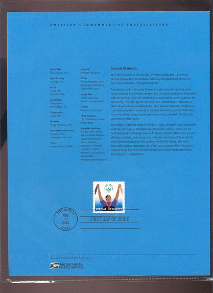 3771     80c Special Olympics USPS Souvenir Page #7-Mar