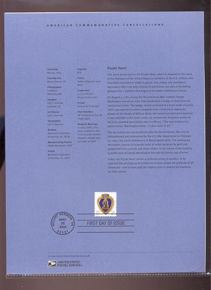 3784     37c Purple Heart Stamp USPS Souvenir Page #18-Mar