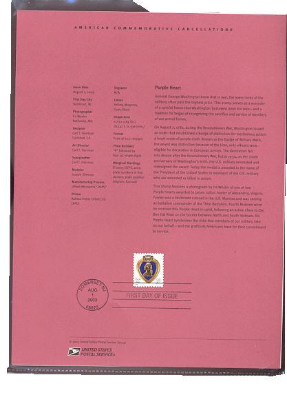 3784A 37c Purple Heart 10-3/4 x 10-1/4 USPS Souvenir Page #24-Mar
