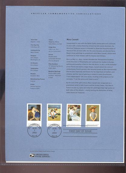 3804-07   37c Mary Cassatt Art (4) USPS Souvenir Page #25-Mar