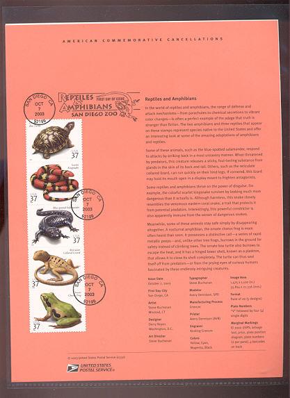 3814-18   37c Reptiles and Amphibians USPS Souvenir Page #30-Mar