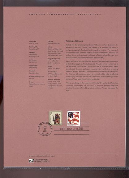 3750A    5c American Toleware USPS Souvenir Page #22-Apr
