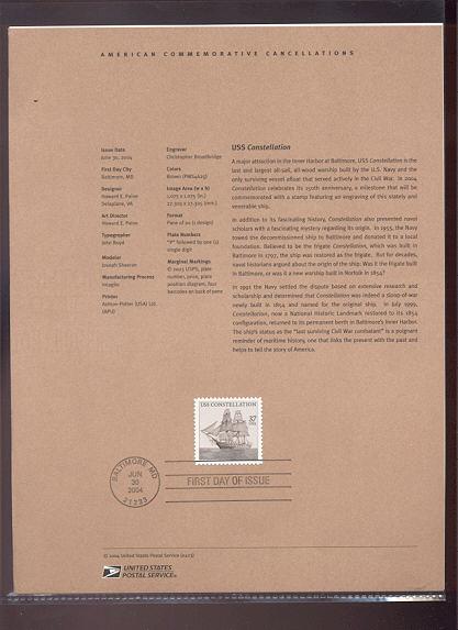 3869     37c USS Constellation USPS Souvenir Page #23-Apr