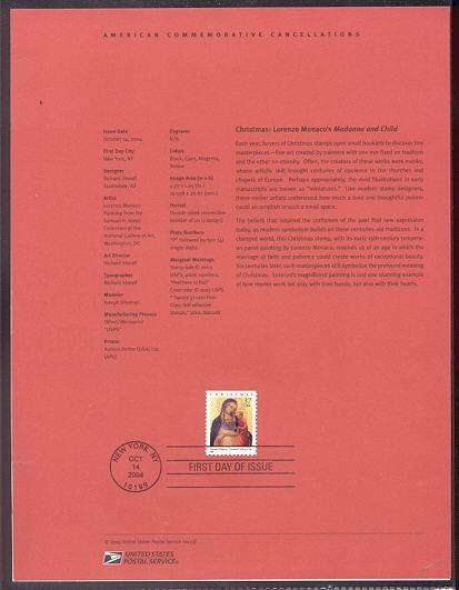 3879     37c Christmas: Lorenzo Monaco's Madonna USPS Souve #Apr-33