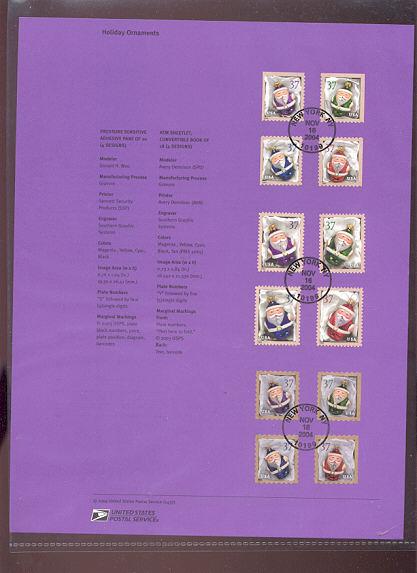 3883-3894  37c Santa Claus Ornaments USPS Souvenir Page #Apr-37