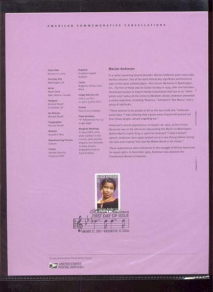 3896     37c Marian Anderson USPS Souvenir Page #2-May