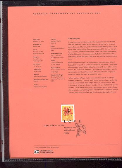 3898     37c Love Bouquet USPS Souvenir Page #4-May