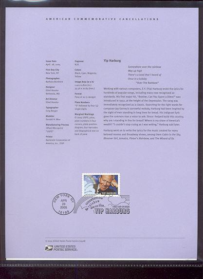 3905     37c Yip Harburg USPS Souvenir Page #8-May