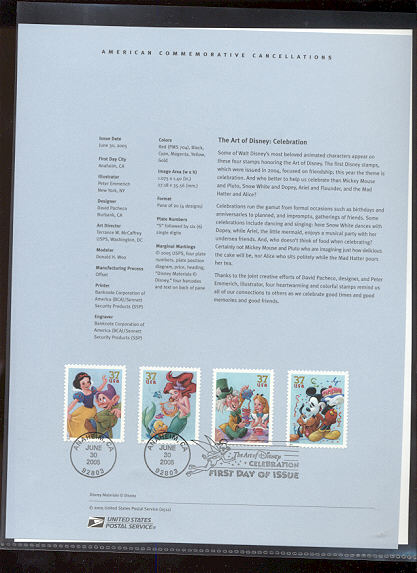 3912-3915  37c Art of Disney Characters USPS Souvenir Page #12-May