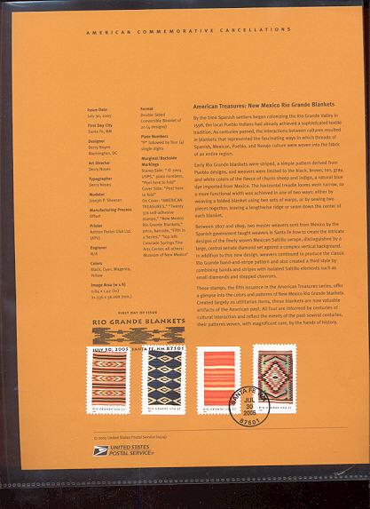 3926-29   7c Rio Grande Blankets USPS Souvenir Page #14-May