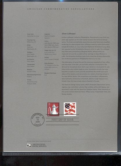 3759     3c Silver Coffeepot USPS Souvenir Page #21-May