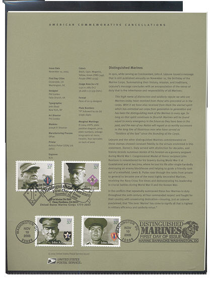 3961-3964  37c Distinguished Marines USPS Souvenir Page #27-May