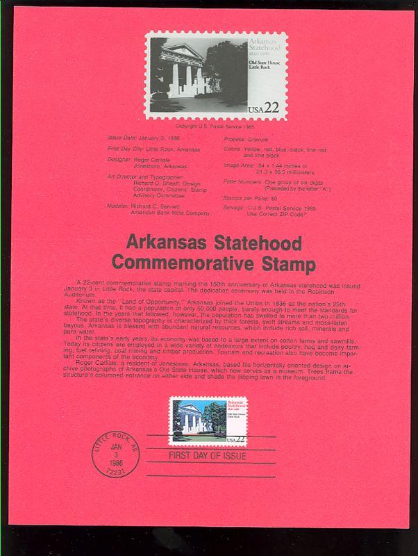 2167 22c Arkansas Statehood USPS 8601 Souvenir Page #8601