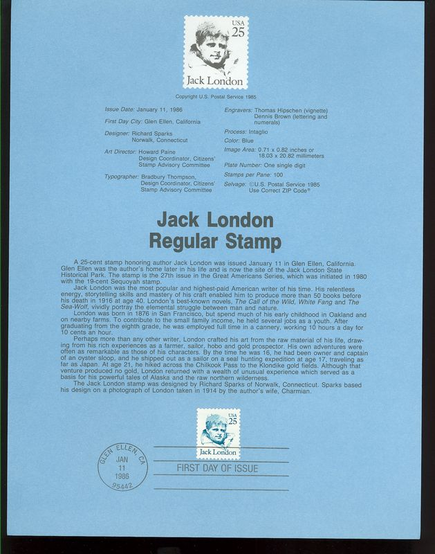 2182 25c Jack London  USPS 8602 Souvenir Page #8602