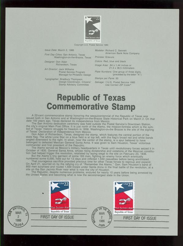 2204 22c Texas Statehood USPS 8607 Souvenir Page #8607