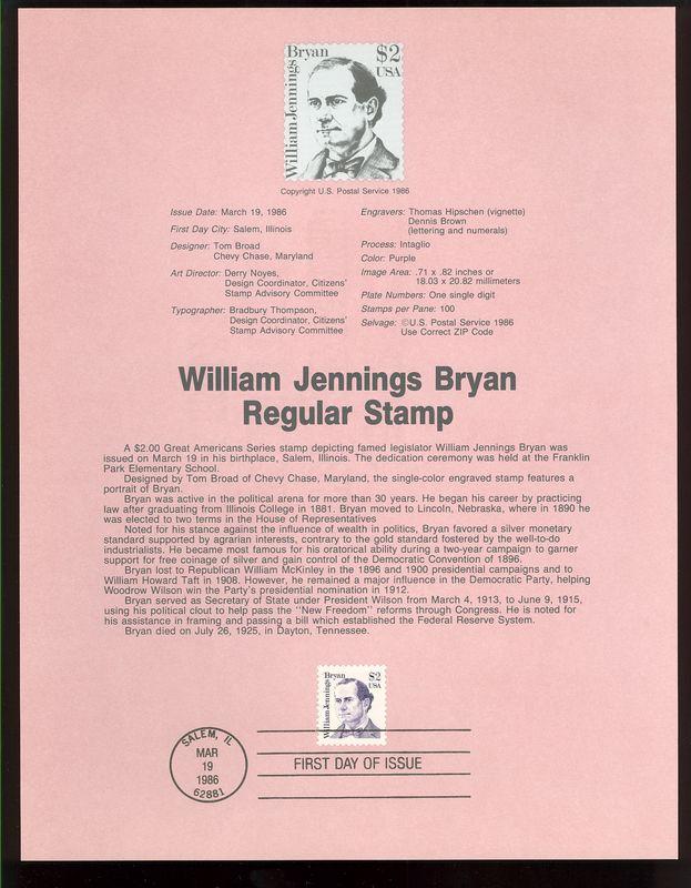 2195 $2 William J. Bryan USPS 8608 Souvenir Page #8608