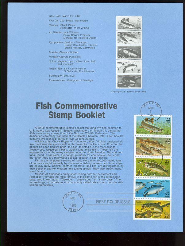 2205-9 22c Fish Booklet USPS 8609 Souvenir Page #8609