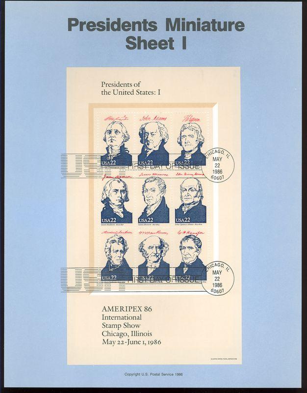 2216-9 4 Presidents Sheets USPS 8612-5 Souvenir Pages #8612