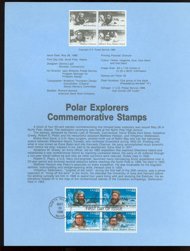 2220-23 22c Polar Explorers USPS 8616 Souvenir Page #8616
