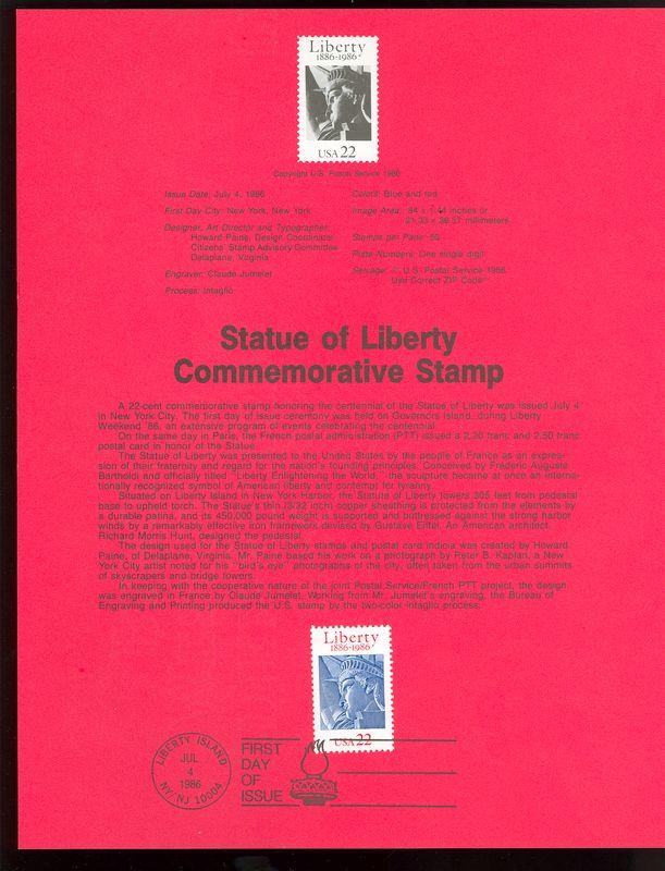 2224 22c Statue of Liberty USPS 8619 Souvenir Page #8619