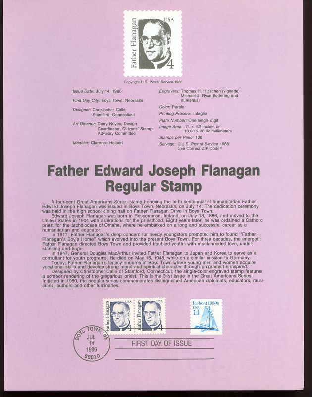 2171 4c Father Flanagan USPS 8620 Souvenir Page #8620