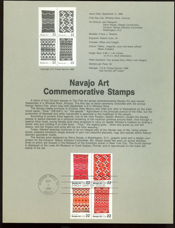 2235-8 22c Navajo Art USPS 8623 Souvenir Page #8623