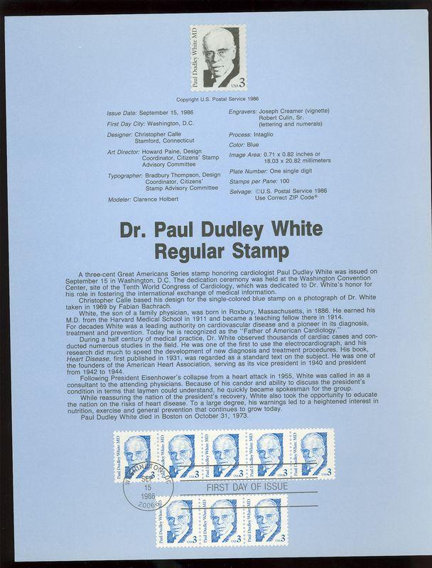 2170 3c Dr. Paul D. White USPS 8624 Souvenir Page #8624