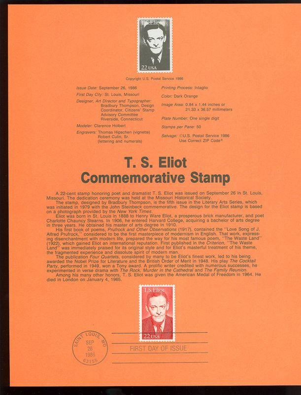 2239 22c T. S. Eliot USPS 8626 Souvenir Page #8626
