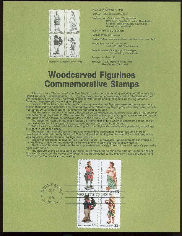 2240-43 22c Woodcarvings USPS 8627 Souvenir Page #8627